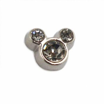 20pcs/lot White Crystal Alloy Mickey Mouse Floating Charms Living Glass Memlry Floating Lockets Pendant Diy Jewelry Marking