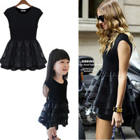 2015 Matching Mother Daughter Clothes Family Look Girl and Mother Mom and Daughter Dress Parent-child Outfit Ma e Filha