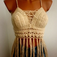 Sandy Fashion Women Bra Crop Top Sexy Bustier Art Crochet Summer Backless Halter Tank Boho Bikini Festival Top Fringed Corset Gift
