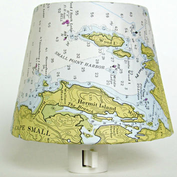 Seaside Cottage Decor Night Light; 1976 Hermit Island Maine Map Nautical Chart Reproduction; Master Bedroom Lighting; Decorative Nightlights