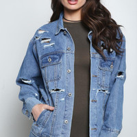 Distressed Denim Jacket Medium Wash