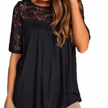 Sexy Hollow Out Lace Short Sleeve Backless Blouse