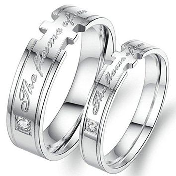 AnaZoz quotThe flame of our lovequot Engraved Stainless Steel Love Wedding Ring and Bands for Women or Men