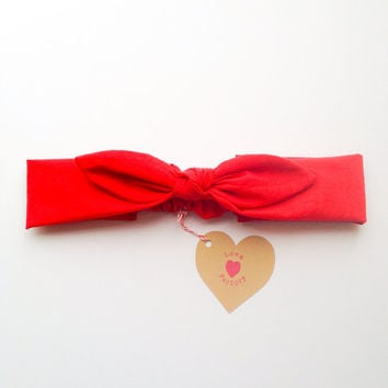 Pretty Cute Bunny bow Bandana style Bow Headband Snow White Red :) Spring Summer collection by Love Factory