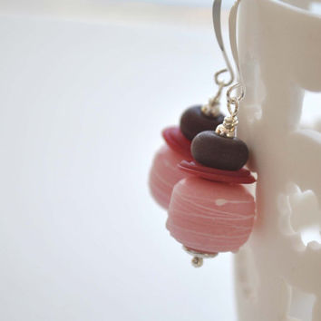 Pink Earrings, Lampwork Glass Earrings, Drizzled Earrings