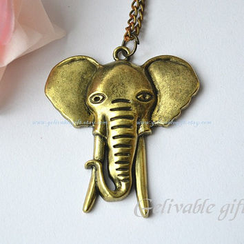 Elephant necklace,steampunk mammoth necklace NEL01