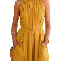 Khaki Tie Waist Rushed Swing Dress