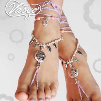 Silver Lilac Boho Barefoot Sandals, Gypsy,b Owl Crochet Barefoot Sandals, Anklet Hippie Shoes