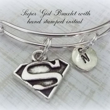 Friend Gift, SuperGirl Personalized Bracelet, Initial Jewelry, Gifts for Her, Birthday for Friend, Super Hero Gift, Personalized Gift