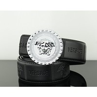 Versace Trending Stylish Women Men Smooth Buckle Belt Leather Belt