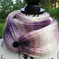 lilac purple scarf, FREE SHIPPING. open weave Knit Scarf with button, infinity scarf, Cowl, loop scarf. gift for women. autumn winter