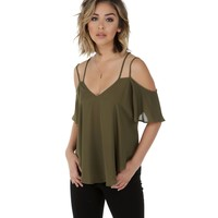 Olive Cross Out Top