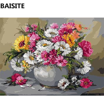 BAISITE Frameless DIY Oil Painting Pictures By Numbers On Canvas Wall Pictures Wall Art For Living Room Home Decoration c112