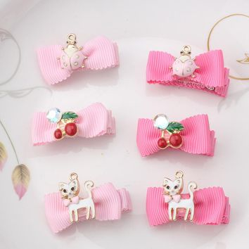 M MISM 2017 Ribbon Crown Crystal Hairpins Pink Cherry Bow-Knot Cats Kids Accessories Star Pendant Hairgrips Hair Clips Headwear