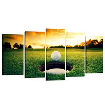 Golf Course Scenery Canvas Wall Art Contemporary Sunset (Large Size 60x32inch)