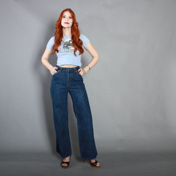 70s High Waist JEANS / 1970s Levi's Dark Wash Wide Leg Bell Bottoms, xs