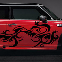 Girly Car Vinyl Design Heart Tattoo Hot Ride Sexy Car Wrap Bad Tribal Cool Sharp Razor Edgy Pattern design car vinyl graphics tr189