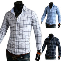 Slim Fit Checked Men's Fashion Dress Shirt