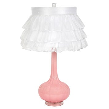 Jubilee Collection L76095P-4770 Pink Opaque One Light Table Lamp with White Ruffled Sheer Skirt Shade
