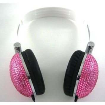 Pink Crystal Rhinestone Bling DJ Over-Ear Headphones