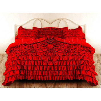 Ruffle Duvet Cover King/California King RED Color Egyptian Cotton Bedding 1000TC