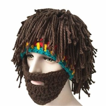Crochet Bob Marley Reggae Hip Hop Style Cosplay Cap Handmade MenRasta Hat with Beard Jamaica Beanie Knit novelty hiking warm cap