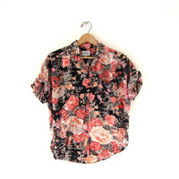 vintage button up shirt. floral short sleeved top. floral. rayon shirt. pink & black.