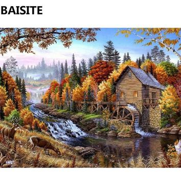 BAISITE DIY Framed Oil Painting By Numbers Flowers Pictures Canvas Painting For Living Room Wall Art Home Decor C128