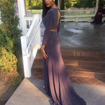 2017 Two Pieces Charming Beading Prom Dresses Long Party Dresses Evening Gowns With Long Sleeve