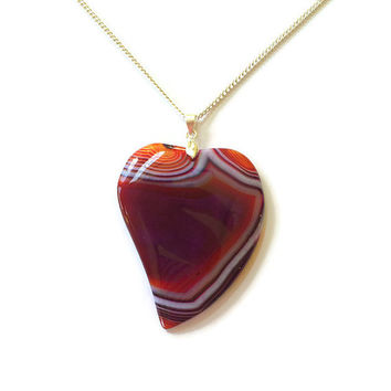 Unique Onyx Agate Heart Necklace Gemstone Heart Pendant Stone Heart Healing Pendant Girlfriend Necklace Reiki Necklace Statement necklace