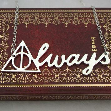 Vintage Harry Potter Deathly Hallows ALWAYS pendant Necklace