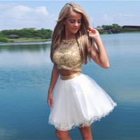 Sexy Luxury Crystal Rhinestone 2 Pieces Gold Cocktail Dresses Backless Women Ruffles Short Prom Dress
