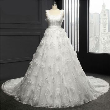 Square Wedding Dress Chapel Train Tulle With Lace Appliques Ball Gown Wedding Dresses