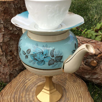 Alice in Wonderland Birthday Tea Party Decorations Stacked Teacup Teapot Centerpiece Mad Hatter Decor Turquoise Teal