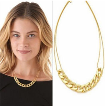 2015 Hot Selling Charm two layer Chains Metal Plated Gold Circles Collar Pendant Necklace for Women Luxury Clavicle necklace