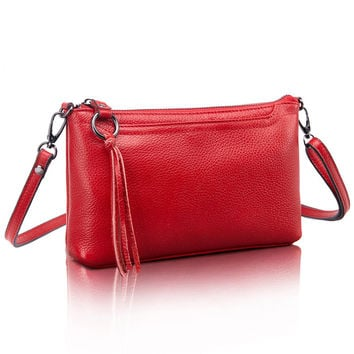 Cowhide Genuine Leather Women Messenger Bags Tassel Crossbody Bag Female Fashion Shoulder Bags for women Clutch Small Handbags