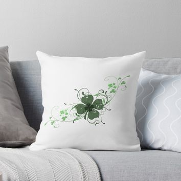 'Elegant Shamrock' Throw Pillow by ckeenart