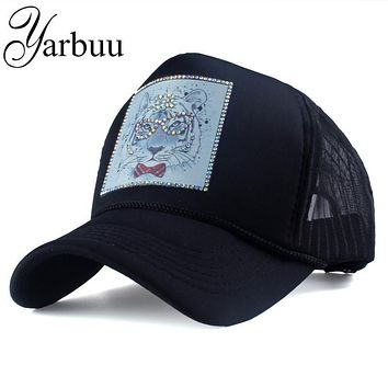 [YARBUU] Brand baseball caps with Cartoon animals summer net cap for women Female hat Rhinestone snapback hats Casquette cap hat