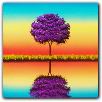 ORIGINAL Painting, Large Wall Art Landscape Painting, Oil Painting Wall Decor, Purple Tree Art Canvas Art, Colorful Art, Rainbow Art, 20x20