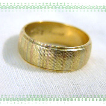 14K Gold ~ 1950's Multi Color Gold Wide Wedding Band Ring - Yellow White & Rose Gold BraumF