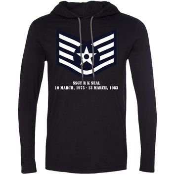 Air Force Staff Sergeant Rank - SSGT R K SEAL 10 MARCH, 1975 - 13 MARCH, 1983 987 Anvil LS T-Shirt Hoodie