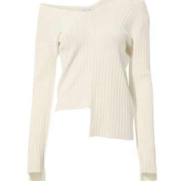 Off Shoulder Rib Knit Sweater