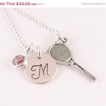 Winter Sale Personalized Monogram Style Tennis Charm Necklace with Sterling Silver Tennis Racquet Charm and Crystal Birthstone