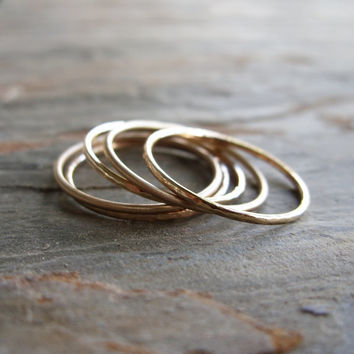 Five Golden Rings - Your Choice of Color and Texture - Smooth, Hammered, or Brushed / Matte - Solid 14k Rose, Yellow, or White Gold Bands
