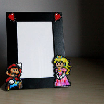 Paper Mario Picture Frame - Black Frame with Mario & Peach - Horizontal or Vertical