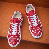 Vans x Supreme x Louis Vuitton Fashion Casual Running Old Skool PU Red Sneaker G