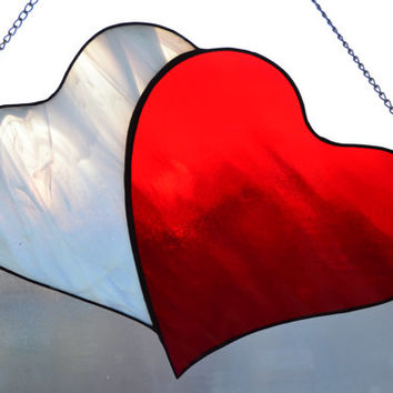 Stained Glass Hearts red white Suncatcher, Window decor, Wall decor, Glass art, Wall hanging, Home decor, Decoration, Valentines day Gift