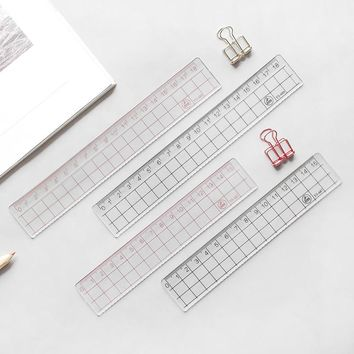 2pcs MUJI STYLE  15cm 18cm 20cm Transparent Simple ruler acrylic ruler   Learn stationery drawing supplies