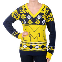 """Michigan Wolverines Women's Official NCAA """"Big Logo"""" V-Neck Sweater by Klew"""