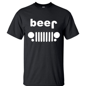 2016 Summer New Arrival Beer Jeep Printed Funny Drinking T-Shirt Men's Fashion Streetwear Short Sleeve O-neck Hip Hop Tops Tees